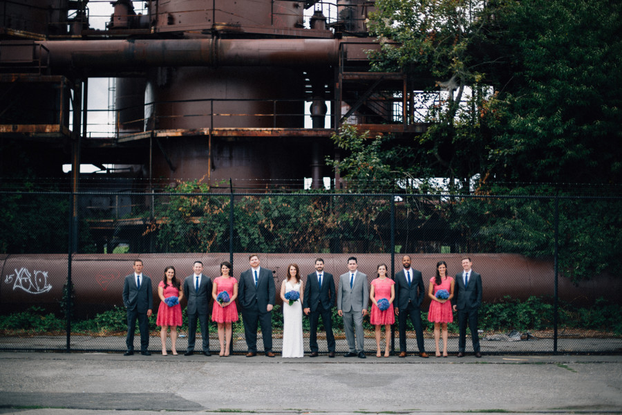 gas works wedding party photos