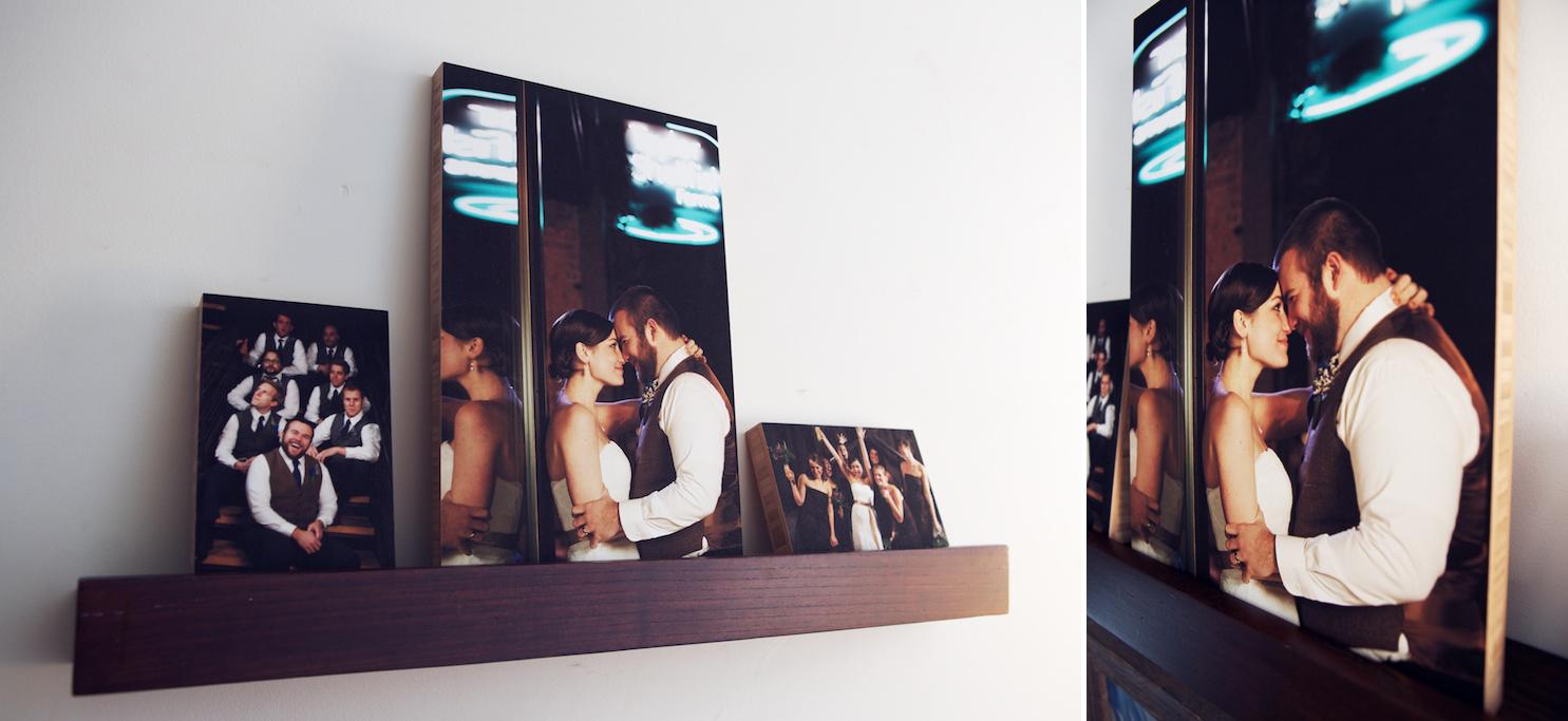 wedding photos mounted on bamboo