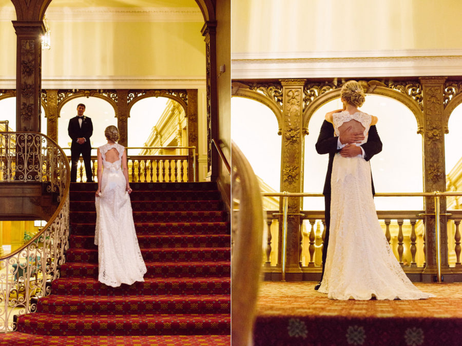 First Look Fairmont Olympic Wedding Seattle